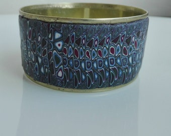 Claude Monet inspired polymer clay cuff bracelet, art inspired bracelet, repurposed can cuff bracelet, polymer clay art inspired bangle