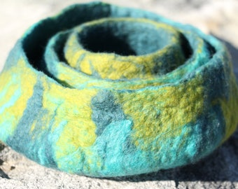 Merino Wool Felted Bowls, Nesting Bowls, Trio Set Wet Felted Wool Bowls, Aqua Blue-Green Turquoise Apple Green Colored Felted Bowls