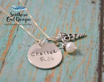 hand stamped nurse necklace, personalized nurse necklace, nurse jewelry, custom nurse necklace, silver,nurse graduation gift, gift for nurse
