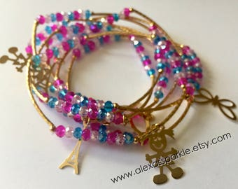Pink and blue combination with gold plated charms - Semanario combinacion rosita y azul con dijes de chapa de oro