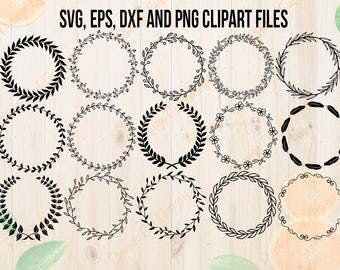 Wreaths Svg Bundle, Wreath Leaves Cutfiles: Dxf, Eps & Png clipart, Decorative leaves svg for Cricut, Silhouette. Hand drawn wreath file