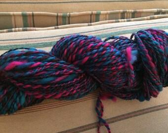 Handspun black, pink, and blue variegated yarn; handspun art yarn; handspun yarn; multicolored yarn