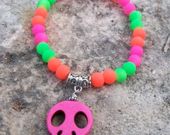 Skull Bracelet Howlite Hot Pink Flat Stone Skull with Neon Pink, Orange, and Green Beads Stretchy Bracelet
