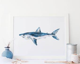 Shark Print, Mako Art Print, Shark Nursery Art, Boy Room Art, Digital Download Art, Wall Printable Art, Beach Printable Art Print Watercolor
