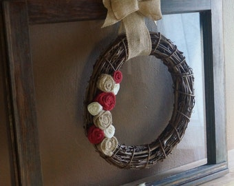 Antique Window with Vine Wreath and Handmade Burlap Flowers