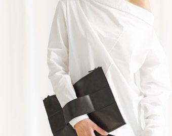 White Shirt / White Oversized Off Shoulder Shirt / Long Sleeved Cottoned Shirt / Button-down Asymmetrical Shirt by AryaSense/ SHR14WH