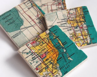 Miami map stone coasters