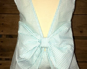 Girls Monogrammed and hand sewn on summer bow swing top with matching bloomers.
