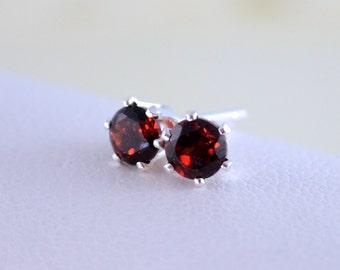 January Birthstone Earrings, Stud Earrings, Genuine Garnet Gemstone, Dark Red Stone, Child Children Girl, Sterling Silver Jewelry