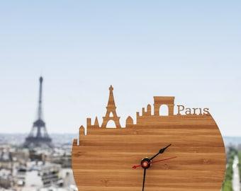 Paris Clock - Eiffel Tower, Arc de Triomphe, Modern Wall Clock - Large Clock - Walnut or Cherry Wood Clock