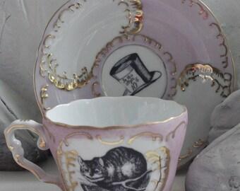 AVAILABLE IN 2 SIZES - Alice in Wonderland Green & Gold Teacup/Saucer Set, Lewis Caroll Teacup, Alice Tea Party, Wonderland Mug