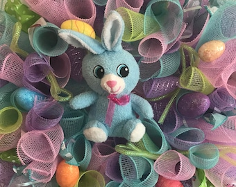 Easter Bunny Wreath Deco Mesh with Decorated Eggs and Blue Bunny 20x20x4 inches