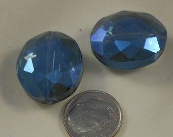 Extra Large Faceted Oval Crystal Beads 24x20mm Blue AB (Qty 2) PH24x20OVL-BlueAB