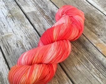 Electric Melon 100% Superwash Merino Sock Yarn - Hand Dyed