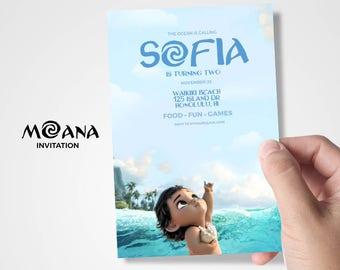 Moana Invitation/Moana Birthday/Moana Birthday Invitation/Baby Moana Party Supply/Moana Card/Moana Flyer/Moana font/Birthday Moana/Card