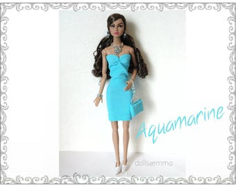 Poppy Parker Doll Clothes - AQUAMARINE Sexy Dress, hand-beaded Purse and Jewelry Set - Custom Fashion - by dolls4emma