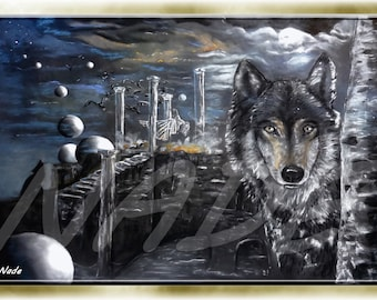 """Reproduction of art (A4) """"Artist NADE"""" the Wolf. You can see a video of these works on this link https://youtu.be/Mm84CgyvWO8"""