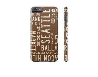 SEATTLE iPhone X Case, iPhone 7 Case, Samsung Galaxy s7 Case, iPhone 6 plus Case, Rustic Phone Cover, Gift for Guy, Subway Art Phone Case.