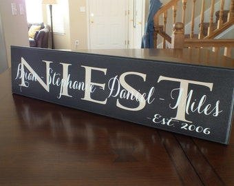 """Personalized Family Name Sign Established 5.5""""x24"""""""