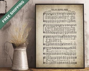 The Old Rugged Cross Hymn Print - Sheet Music Art - Hymn Art - Hymnal Sheet - Wall Art -Home Decor - Music Sheet - Print - #HYMN-P-013