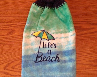 Beach Crocheted Hanging Kitchen Towel