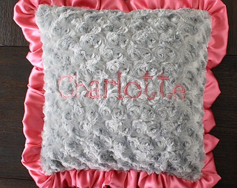 Nursery pillow, minky pillow, ruffle pillow, personalized pillow with name, Coral and Grey nursery chair pillow, baby girl, baby gift