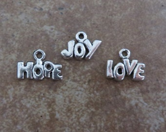 24 Mini Word Charms 8 Each JOY HOPE LOVE Atq Silver Tone Inspirational Very Small Tags Jewelry Supplies  About 13x10mm
