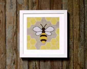 honey bee cross stitch pattern - diy - modern - pdf - instant download