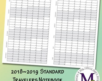 Standard Travelers Notebook Insert Academic year 2018-2019  Fold Out, Year at a Glance