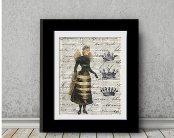 Bees, Bee Print, Dictionary Prints, Honey Bee Wall Art, The Wasp Picture, Mixed Media 8x10 Vintage Dictionary Page Print, The Wasp Pictures