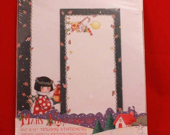 "Mary Engelrein 8 1/2"" X 11"" Holiday Stationery. Twenty Sheets and Fifteen Envelopes."