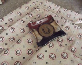 Handmade Pottery Spoon Rest, Teaspoon Rest, Teabag Holder, Coffee Spoon Rest, Pill Dish, Jewelry Holder, Wedding Favor, Horseshoe Design