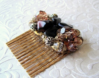 Amber Cluster Crystal Beaded Earring Hair Comb Chocolate Brown Mixed Metals Rhinestones 1950s Vintage Jewelry Accessory Bohemian Wedding