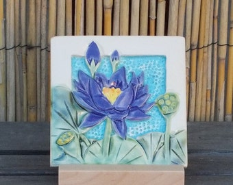 Pink  Lotus, Hand Made Tile, Arts and Crafts, Mission Style