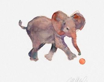 "Elephant baby Giclee Print 8x8"" wall decor art prints animal art watercolor paintings living room decor office decor fine art print"
