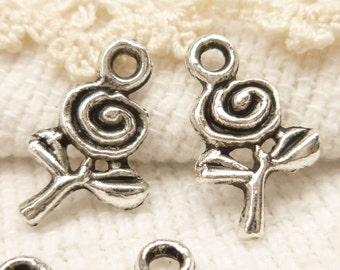 Tiny, perfect Rose Flower Charms, Antique Silver (10) - S152