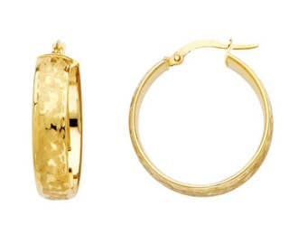 14K Yellow Gold Round Hoop Earrings - High Quality Puffy Hollow Design
