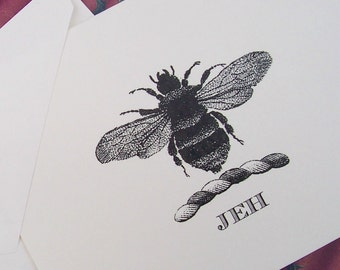 Napoleonic Bee Monogrammed Personalized Note Cards Black Ivory Set of 10 Vintage Inspired Old World Elegant Hostess Gift Honey Bee Royal Bee