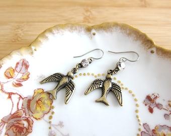 Swallow Bird Earrings Glass Rhinestone Connector