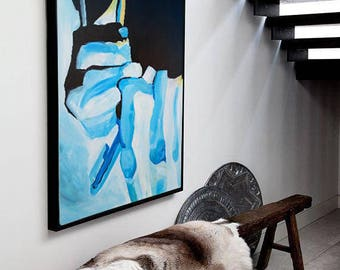 Figurative painting, Figurative art, Painting abstract, Painting on canvas, Handmade painting, Art, Home decor, Wall artwork, Blue & Black
