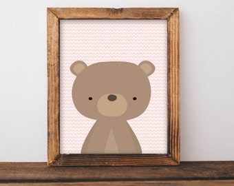 Nursery Printable Wall Art, Woodland Bear art, baby girl Nursery decor, Forest Animal print, Nursery art, Bear art, pink nursery poster