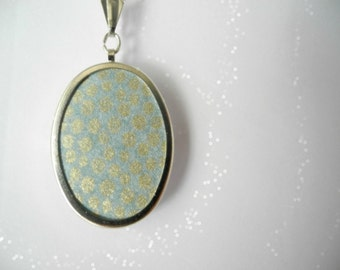 Sea green metallic dots pendant, Bridesmaid jewelry, Polka dots gold Spring Jewelry,Wallpaper Easter Jewelry,Sea green Necklace