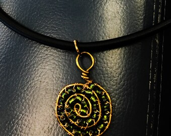 Spiral wire wrapped green necklace