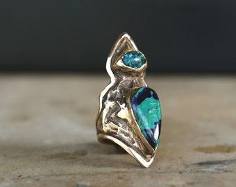 TARA, Azurite Malachite Ring, Turquoise Statement Ring, azurmalachite Ring, Stone Statement Ring, Boho Ring, Unique Statement Ring, Hippie