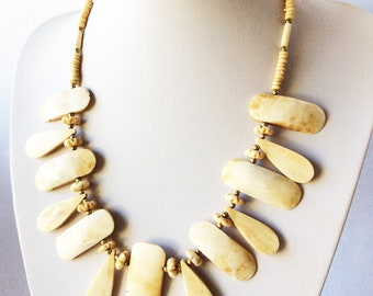 bib style necklace tribal ethnic statement carved bovine bone necklace