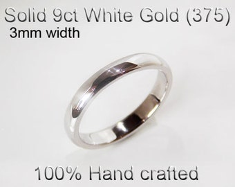9ct 375 Solid White Gold Ring Wedding Engagement Friendship Half Round Band 3mm