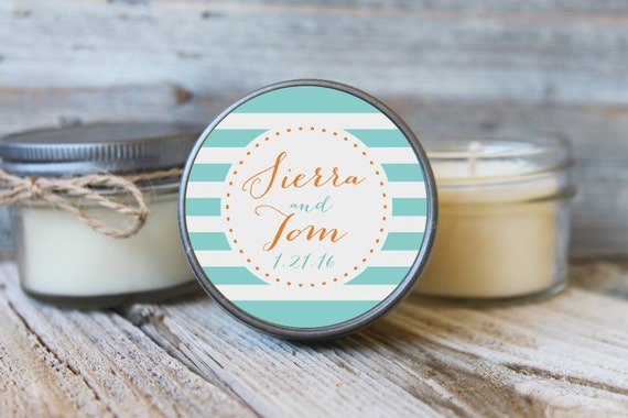 12 - 4 oz Bridal Shower Favor//Stripe Wedding Favor//Bridal Shower Favor//Personalized Wedding Favor//Shower Favor//Candle Favors//