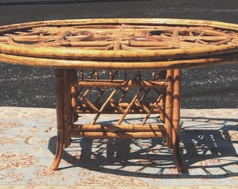 Round Rattan Bamboo Chinese Chippendale Coffee Table With Glass Top Vintage