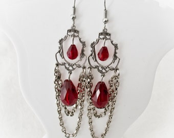Silver elegant vampire drop earrings-gothic earrings-victorian gothic jewelry