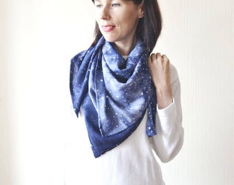 galaxy scarf space scarf celestial gifts wanderlust gift science gift cotton scarf birthday gift wife gifts soft scarf blue scarf head scarf